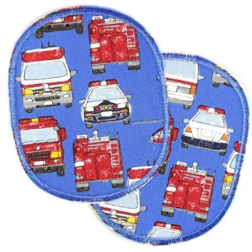 2 Flicken zum aufbügeln Set retro Einsatzfahrzeuge Knieflicken 10 x 8 cm Aufbügler Feuerwehr Krankenwagen Bügelflicken, Autos für Jungs Hosenflicken Rettungswagen Applikation