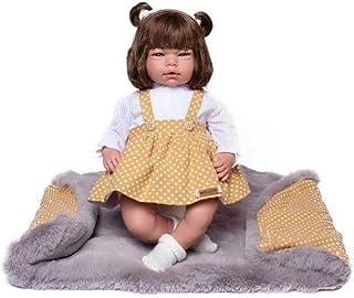 Munecas Guca Puppe Guca - Puppe Lea Kleid Senf mit weißen Punkten, Strampler und Decke mit grauem Haar 46 cm, Mehrfarbig 896