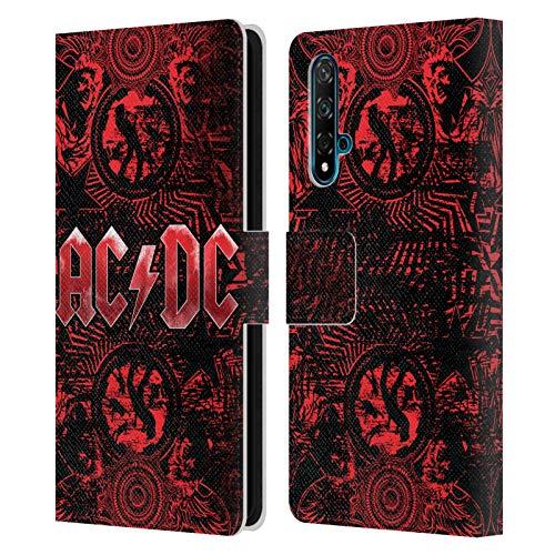 Head Case Designs Offizielle AC/DC ACDC Verziert Rot Logo Leder Brieftaschen Handyhülle Hülle Huelle kompatibel mit Huawei Nova 5T