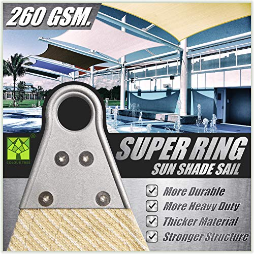 ColourTree 16' x 16' Beige Square Super Ring Sun Shade Sail Canopy Structure, Super Durable Heavy Duty, Reinforced Corners, Edges & 260 GSM Permeable Fabric