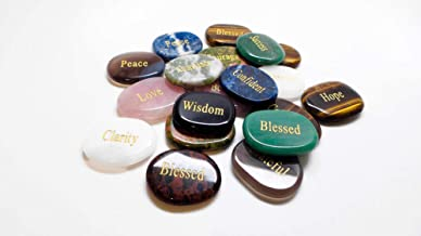 Graceful Touch Meditation, Inspiration Stones with Words- Motivational Gems, Unique Gifts for Family, Friends, and Coworkers, Decorative Stones, (Set of 4)