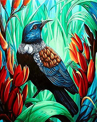 WOWDECOR Pintura por números Kits, Diy Pintura al óleo - Coloridas aves Flores 40,6 x 50,8 cm (enmarcado)