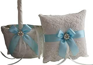 Alex Emotions   Lace Collection   White Sky Blue Ring Bearer Pillow & Wedding Basket Set