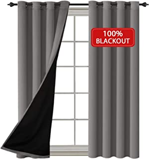 H.VERSAILTEX Full Blackout Grommet Lined Curtains and Draperies 100% Blackout Drapes with Black Liner Backing for Bedroom/Living Room Thermal Insulated Curtain (Grey, Set of 2, 52 x 96 Inch)