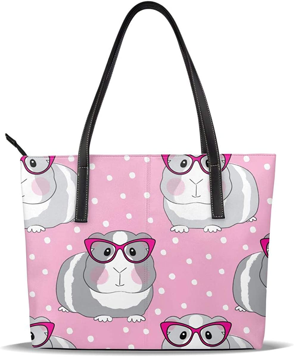 Pink Guinea Pig Choice Glasses PU Max 57% OFF Leather Printed Casual Handba Pattern