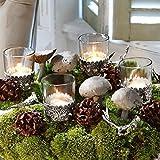 Loberon Windlicht 4er Set Pinelle, Glas, Ornamente: Messing, H/Ø 16/6 cm, klar/Silber