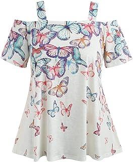 Dubocu Women's Tops Open Shoulder Plus Size Butterfly T-Shirt Blouse