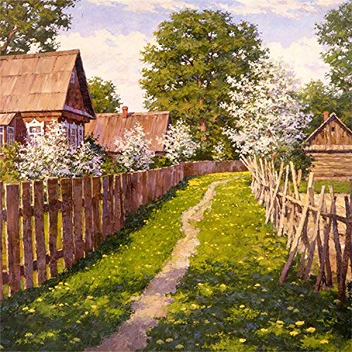 HAOTTP Diamond Painting DIY Stickerei Zaun Trail Vollbohrung Mosaik Kreuzstich Dekorative Handwerk Handwerk Home Wanddekoration 40x60cm