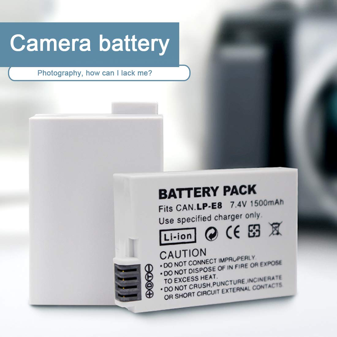 YOGINGO 1PCS LP-E8 7.4V 1500mah LP E8 LPE8 Batería de cámara Digital para Canon EOS 600D 650D 550D 700D: Amazon.es: Electrónica