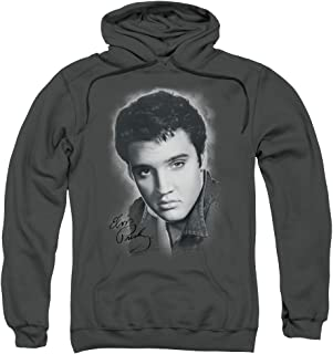 Elvis Presley Grey Portrait Unisex Adult Pull-Over Hoodie for Men and Women
