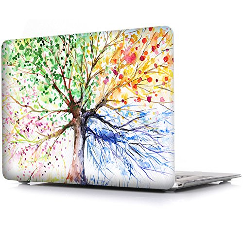 iCasso New Art Fashion Image Series Ultra Slim Light Weight Rubberized Hard Case Glossy Clear Crystal Snap On Hard Cover Case for MacBook Air 13 Model A1369 and A1466 Four Seasons Tree by iCasso