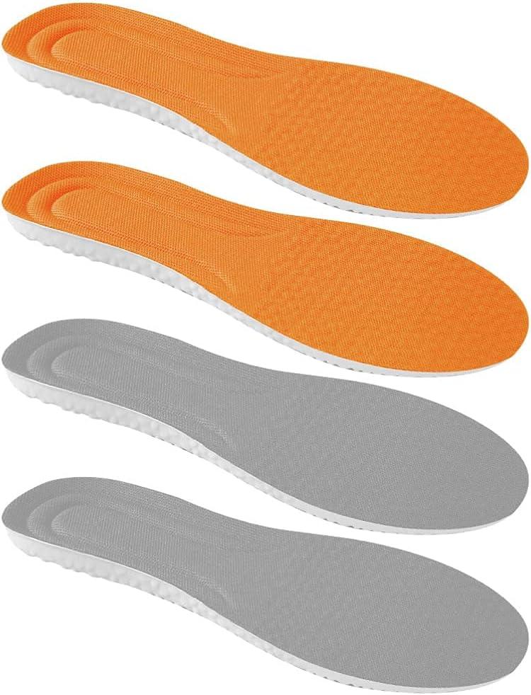 2 pares de plantillas ortopédicas de arco alto, color naranja, gris, plantillas ortopédicas, de longitud completa, para zapatos ortopédicos, cojines de malla 41-42 (tamaño: 28.00 x 8.50 x 0.50 c)
