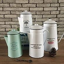 Emaille waterkoker emaille koele waterfles creatieve nostalgische koffiepot, retro noodzakelijk koud water fles met dekse...