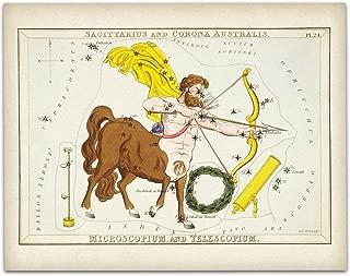 Sagittarius Zodiac Constellation Antique Art Print - 11x14 Unframed Art Print - Great Home Decor or Gift Under $15 to Astrology Enthusiasts