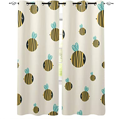 Blackout Curtains & Drapes Cartoon Wing Stripe Bee Pattern Thermal Door/Window Treatment Set for Home,Bedroom,Living/Dining/Kids Room,Patio(52x84 Inch,2 Panels) Yellow