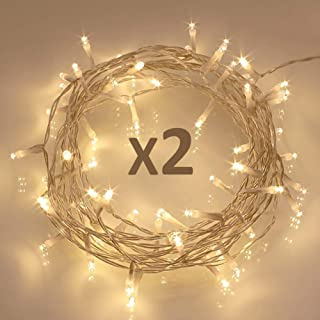 Koopoer [ 2 Pack ] 40 LED Outdoor [Timer] Battery Fairy Lights on 5M String Cable - (8 Modes, 120 Hours of Lighting, Warm White)