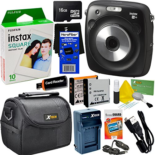 Fujifilm Instax Square SQ10 Hybrid Instant Camera + Fujifilm Instax Square Instant Film (10 Sheets) + 16GB Memory Card + Camera Case + 8pc Accessory Kit w/HeroFiber Ultra Gentle Cleaning Cloth
