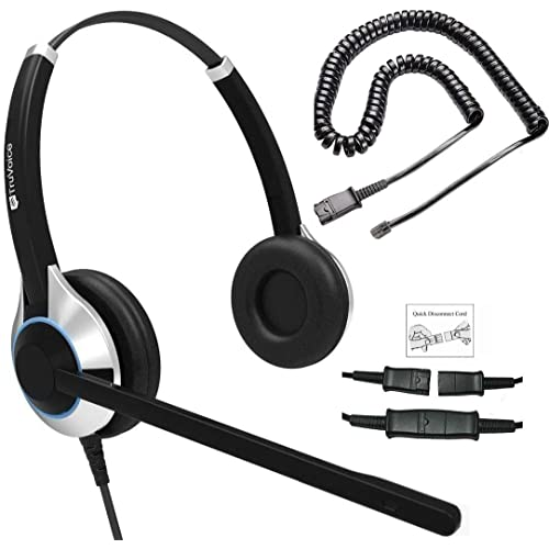 TruVoice HD-550 Deluxe Double Ear Headset with Noise Canceling Microphone & U10P Bottom Cable Works with Mitel, Nortel, Avaya Digital, Polycom VVX, Shoretel, Aastra, Digium + More