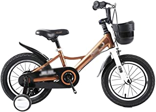 """Children's Bicycle Child Stroller boy Girl Bicycle 12"""" 14"""" Mountain Bike Road Riding Safety Double Disc Brake (Color : Gold, Size : 14 inches)"""