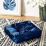 Safavieh Primrose Glam 18-inch Navy Velvet Square Floor Pillow