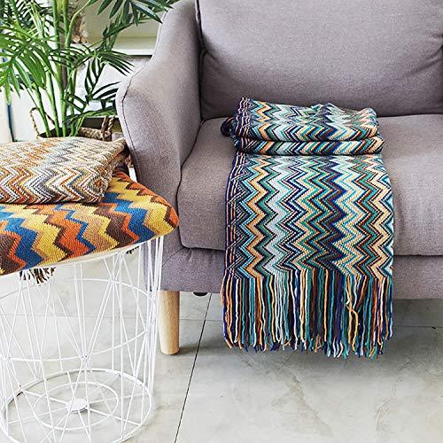ZHIHQ Funda de sofá de algodón para sillón, Funda de sofá étnica Bohemian para sofá, Cama, decoración Boho para Centro de Yoga, meditación o Dormitorio,Azul,130 * 170cm
