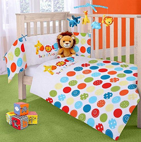Parure de lit réversible pour lit d'enfant avec tour de lit et couette motif animaux de la jungle et inscription Best Friends