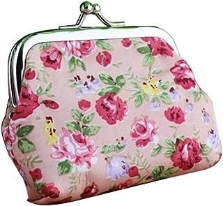 Luxurious Floral Wallet Bag Keys Pouch Coin Purse,Colour:Green (Color : Pink)