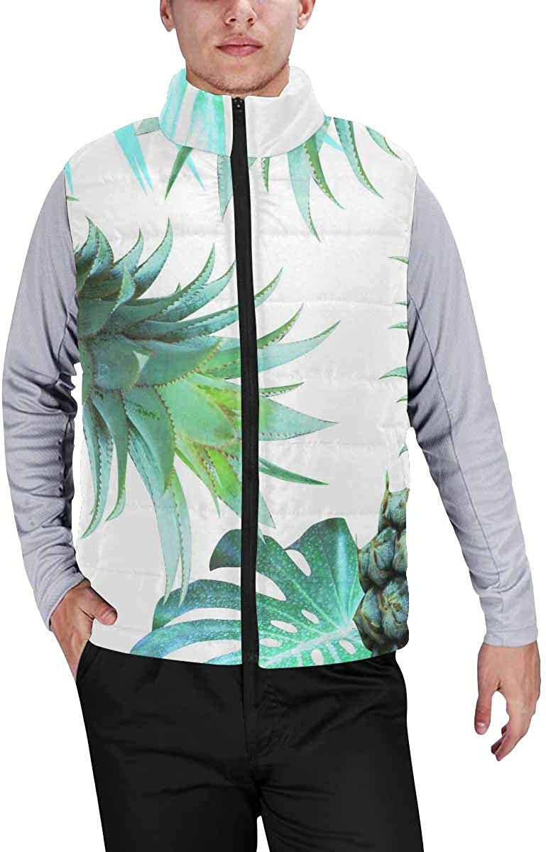 InterestPrint Men's Lightweight Sleeveless Jacket for Travel Hiking Running Green Lobster