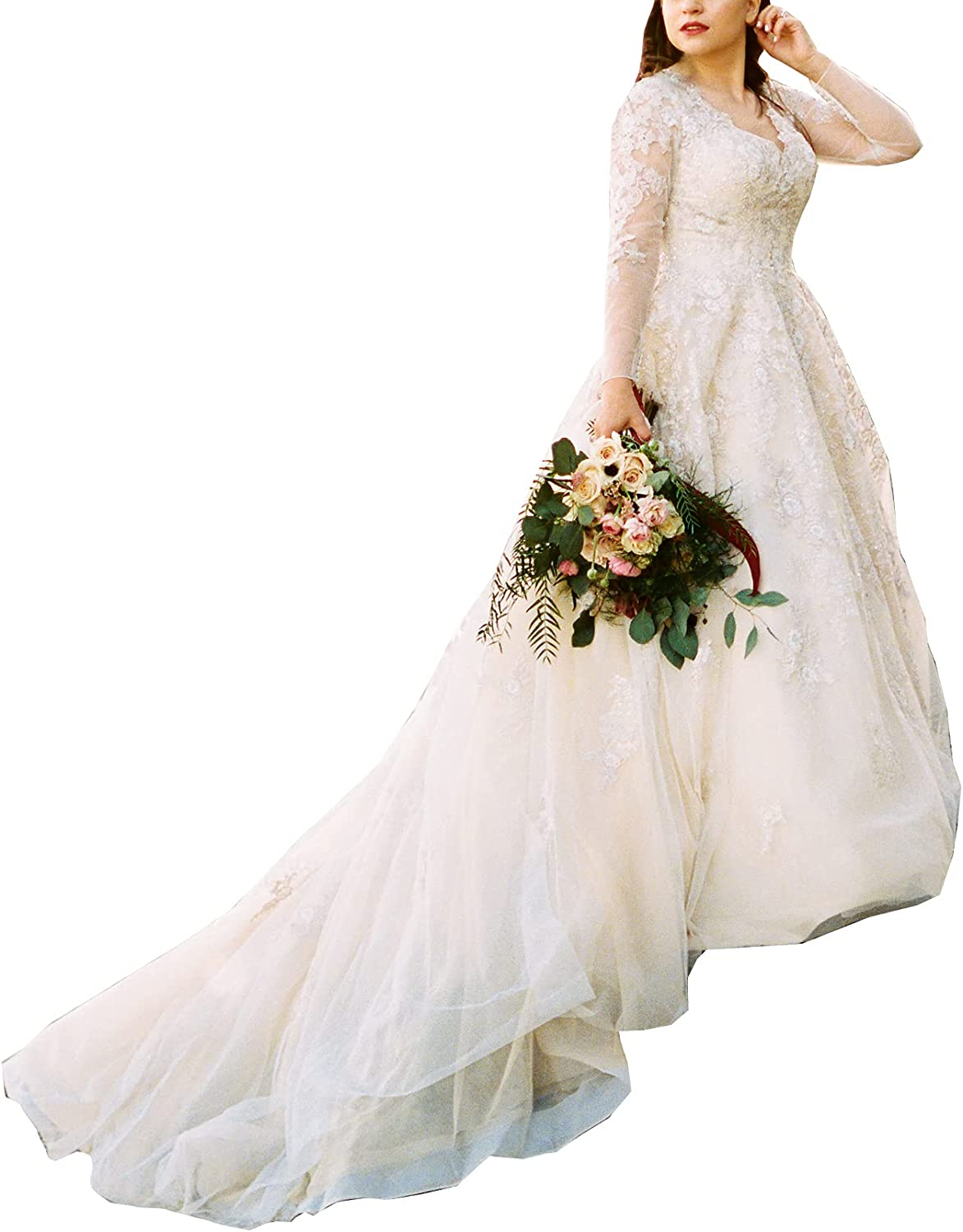 Melisa Wedding Dresses for Bride Plus Size with Train A-line Long Sleeves Sequins Lace Beach Bridal Ball Gowns