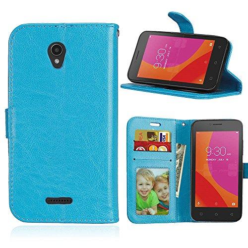 Funda Lenovo A Plus A1010a20,Bookstyle 3 Card Slot PU Cuero Cartera para TPU Silicone Case Cover-Azul