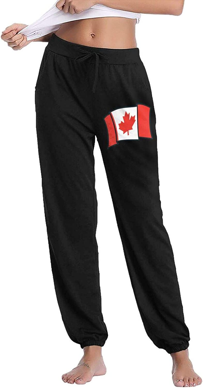 Flying Canada Flag Womens Long Active Casual Sweatpants Jogger Pant Black