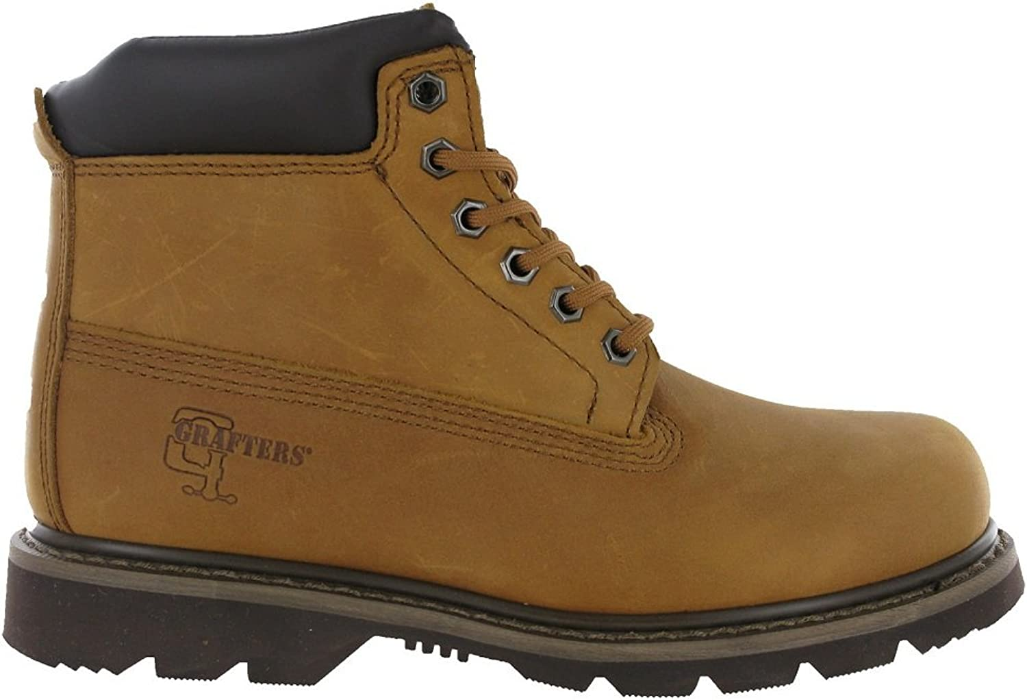 Grafters Mens 6 Eyelet Leather Welted Work Boots Brown