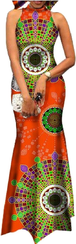 GAGA Women's Sleeveless Halter African Afican Dashiki Print Party Long Maxi Dresses