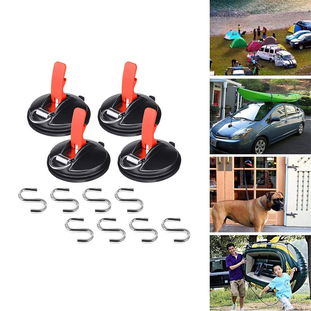 2-Pack Suction Cup Tie Downs Suction Cup Mount Car Hook Rack for smooth surface