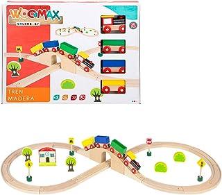 comprar comparacion WOOMAX-Tren de madera y vías 30 piezas, (ColorBaby 43629)