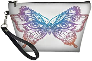 Women Travel Cosmetic Bag,Spiritual Madam Butterfly Wings with Human Eyes Retro Tattoo Freedom Theme Nature,Fashion Pencil Case Pouch Makeup Bags
