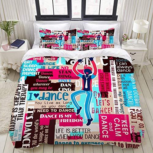 bedding Duvet Cover Set, dancers dance sayings quotes collage lettering,Microfibre Duvet Cover Set 200 x 200cm with 2 Pillowcase 50 X 80cm