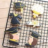 Set di 6 formine per biscotti di laurea, laurea maschile, laureato, cappello, abito da diploma e bouquet di fiori, in resistente acciaio inox