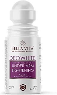 Bella Vita Organic Deo White Deodorant For Women Roll On Natural Under Arm Skin Whitening & Lightening For Girls, Ladies, 75 ml