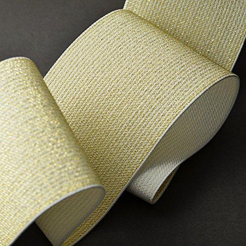Trim 3' (75mm) Metallic Gold Elastic Stretch Ribbon, Elastic Band by 1-Yard, TR-11201