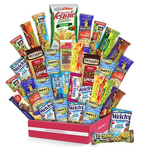 Healthy Snack Box Variety Pack, (30 Count) valintines Candy Gift Basket - College Student Care Package, Thanksgiving, Xmas Food Arrangement Chips, Cookies- Birthday Treats for Adults, Kids,