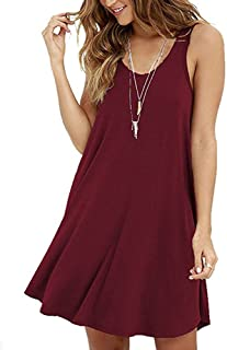 Women Shirt Dresses, DaySeventh Women's Casual Solid O-Neck Swing Simple Sleeveless Loose Camis Dress