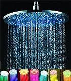 ELENKER 7 colors 8' Rainfall Round Bathroom Shower Head RGB LED Flash Light