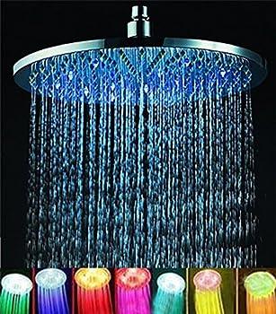 ELENKER 7 colors 8  Rainfall Round Bathroom Shower Head RGB LED Flash Light