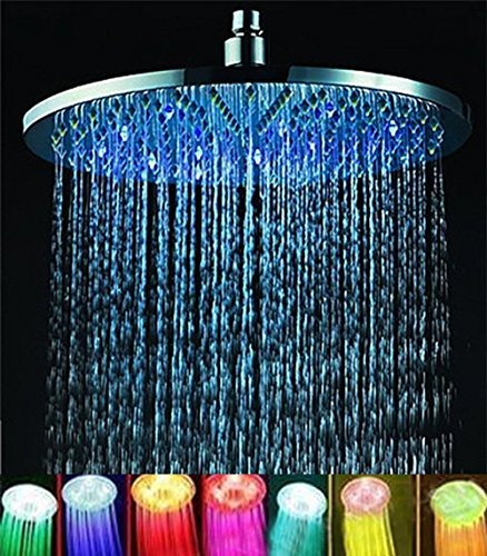 "ELENKER 7 colors 8"" Rainfall Round Bathroom Shower Head RGB LED Flash Light"