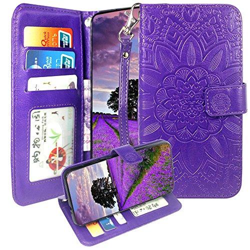 ZTE Tempo X Case, ZTE Avid 4 / AVID 557 / Blade Vantage Case, Harryshell Kickstand Wrist Strap PU Leather Flip Wallet Case Protective Cover Card Slot for ZTE Blade Vantage Z839 / N9137 N837 Purple