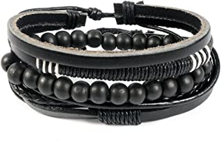 Unknown by ayesha Men's set of four black bracelets with beads and leather combination.