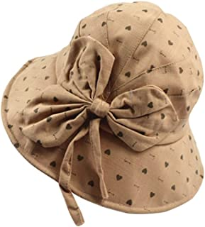 Collapsible Basin Cap Straw Hat Big Bow Cotton and Linen Visor Visor Female Wild Wire Sunscreen Fisherman Hat (Color : Khaki, Size : M (56-58cm))