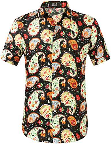 SSLR Men's Casual Button Down Shirts Short Sleeve Hawaiian Shirts for Men (X-Large, Black(297))