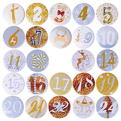 MEJOSER 24pcs Chapas Número Navidad Calendario de Adviento Pins Botones Broches Manualidades Decoración Adornos Navideños